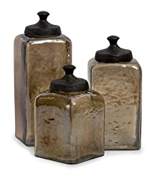 Set of 3 Decorative Tan-Tinted Square Kitchen Canisters