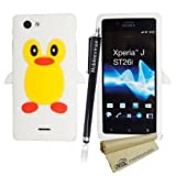 MobileExtraLtd® Sony Xperia J ST26i/ST26a New Stylish Printed Patterned Rubber Silicone TPU Gel Back Fitted Skin Case Cover + Free Stylus Pen And Screen Protector (White Penguin Cartoon Style Case)