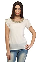 Cation Women White Traditional Top (tops_5100_l_Yellow)