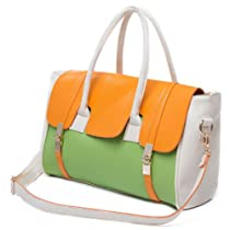 Hot Sale MG Collection SAFIYA Orange Green Textured Dual Turn Lock Office Bag Tote Purse