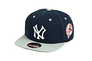 MLB Mens New York Yankees Blockhead Snapback Cap (Navy Grey, Adjustable) by Wright & Ditson