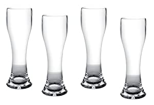 (Set of 4) 23 Oz. Crystal Clear Polycarbonate Pilsner Beer Glasses *Break Resistant* by Drinkco