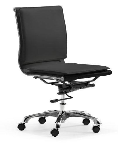 Zuo Modern Lider Plus Armless Office Chair Black