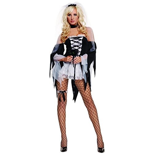 [GSG Diane Tawed Costume Adult Corpse Bride Halloween Fancy Dress] (Dark Skeleton Bride Child Costumes)