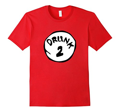 Men's Drunk two - Drunk one funny T-Shirt Party Club hopping Shirt XL Red (Thing 1 And Thing 2 Costume Ideas)