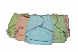 Kissa's 6 Count Fleece Diapers, Blue, Green, Orange, Medium/Large