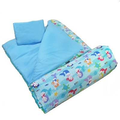 Wildkin Children Kids Outdoor Camping Portable Compact Bedding Nap Mat Mermaids Sleeping Bag Blue