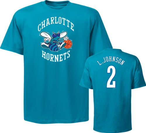 Larry Johnson Teal Majestic Hardwood Classic Name And Number Charlotte Hornets T-Shirt