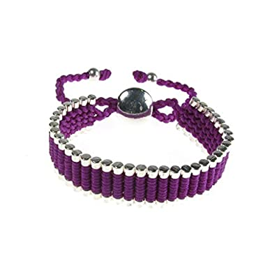 Guilty Gadgets Purple Shamballa colour woven cord linked bars Friendship bracelet Shambala Shamballa Style Disco Balls Beads Fashion Bracelet Band Gift