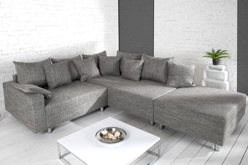 Design Ecksofa mit Hocker LOFT Strukturstoff grau Federkern Sofa Ottomane beidseitig aufbaubar thumbnail