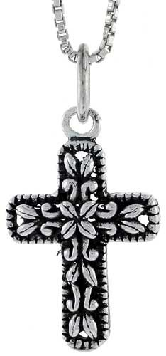 Sterling Silver Latin Cross Pendant, 3/4 inch tall