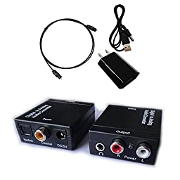 Easyday Digital to Analog (L/r) Stereo Audio Converter Adapter - Changes Digital Coaxial or Optical Toslink [Spdif] Into Stereo 3.5mm Jack or L/r (Red/white) RCA Audio Outputs - Includes Ac Power Cable