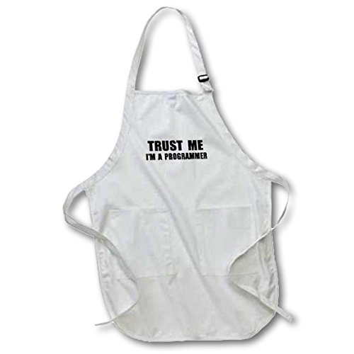 3dRose apr_195648_4 Trust Me Im a Programmer. Programming Work Humor. Funny Job Text Gift Full Length Apron with Pockets, 22 by 30-Inch, Black