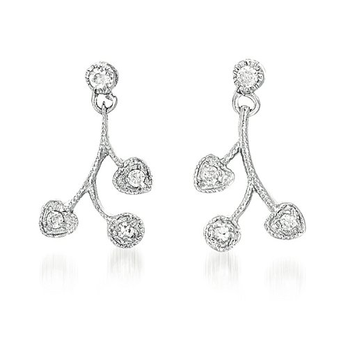 C.Z. Rhodium Heart And Round C.Z. Post (.925) Sterling Silver Earring (Nice Holiday Gift, Special Black Firday Sale)