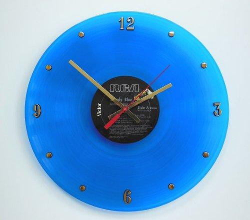 "Record Clock - Elvis Presley (Moody Blue). Handmade 12"" wall clock created with the original Elvis Presley blue vinyl record"