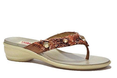 Melluso Ciabatte infradito bronzo sandali scarpe donna R8616 39