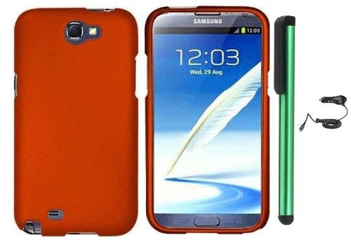 $$  Metallic Orange Design Protector Hard Cover Case for Samsung Galaxy Note II N7100 (AT&T, Verizon, T-Mobile, Sprint, U.S. Cellular) Android Smart Phone + Luxmo Brand Car Charger + Combination 1 of New Metal Stylus Touch Screen Pen (4