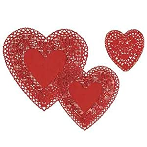 Heart Doilies 8 inch Red