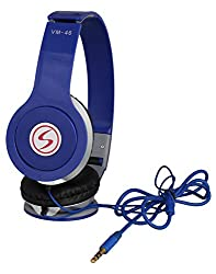 Signature Brand High Quality VM-46 Stereo Bass Solo Headphones For Iphone,Samsung, Redmi and All Other Smartphones (Blue Color)