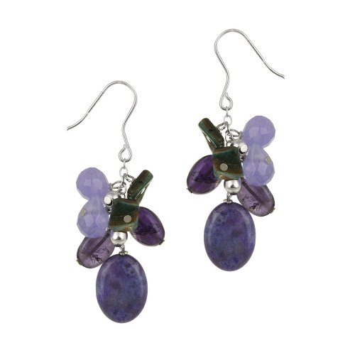 Sterling Silver French Wire with Amethyst, Purple Crazy Lace Agate and Sterling Silver Bead Drops Linear Earrings