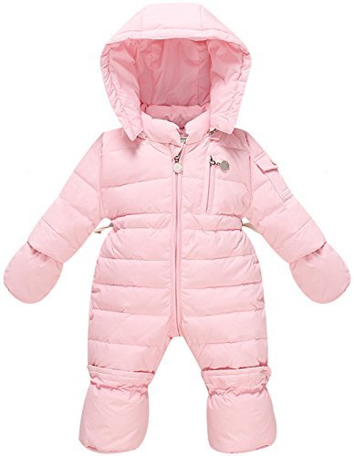 ZOEREA Infant Newborn Baby Hoodie Down Jacket Jumpsuit Pram Snuggly Snow Suit, Pink, Label 100/ Age 0-6 months