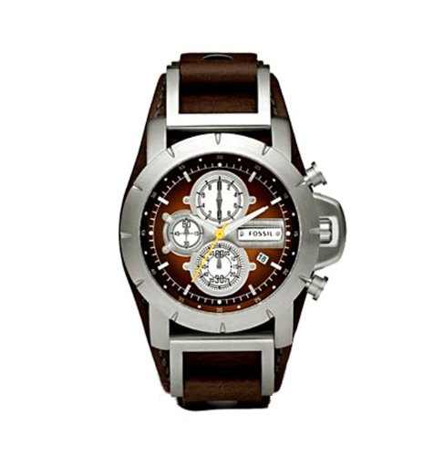 Fossil Men's Trend JR1157 Brown Leather Analog Quartz Watch with Brown Dial