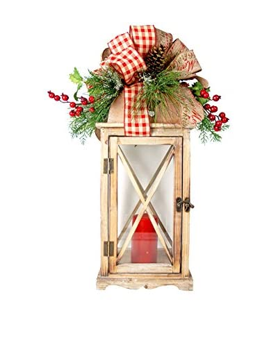 Creative Displays Lantern Embellished with Long Needle Pine & Berries, Natural Pinecones, & Plaid Ri...