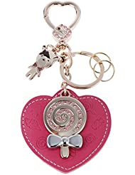 Magideal Lolipop & Pink Leather Heart Charm Pendant Silver Keyring Key Chain