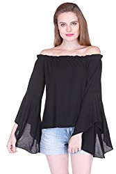 Black Rayon Off Shoulder Frill Top ZSTRDRESS412-XL