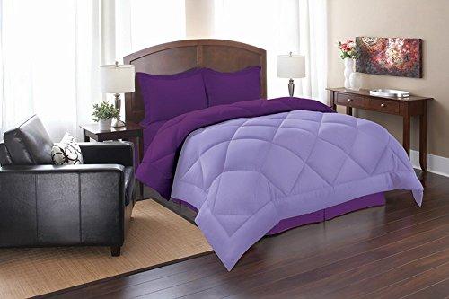 Elegant Comfort® All-Season Down Alternative Luxurious Reversible 3-Piece Comforter Set- Full/Queen, Lilac/Purple (Reversible Comforter Full compare prices)