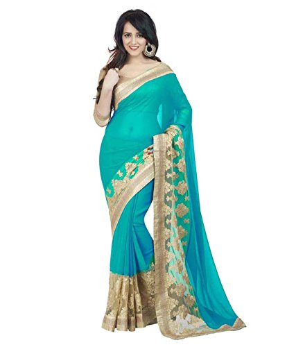 'Bollywood Designer Original Women's Saree With Blouse Piece Model-1 (SkyBlue)