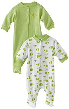 Gerber Unisex-Baby Newborn 2 Pack  Snap Front Sleep and Play , Green and White, Newborn