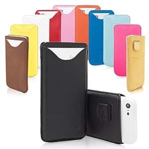 Snugg B00EYYE1GW - Funda de piel para iPhone 5C (tarjetero, cinta elástica e interior de nobuck), con garantía de por vida, color negro