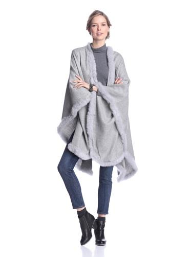 Alicia Adams Alpaca Women's Solid Cape, Light Grey