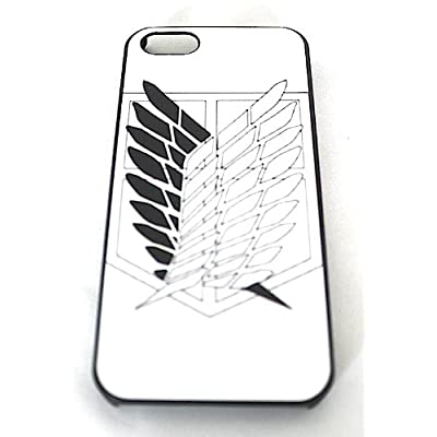 目立つ! 進撃の巨人 iphone5ケース カバー  調査兵団 紋章 エレン リヴァイ ミカサ 白 ホワイト 自由の翼【空縁隊】