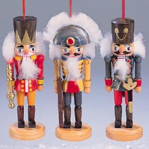 3 Wooden Nutcracker Soldier Ornaments
