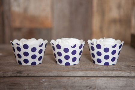 Navy Blue Large Polka Dot Cupcake Wrappers, 12 Count