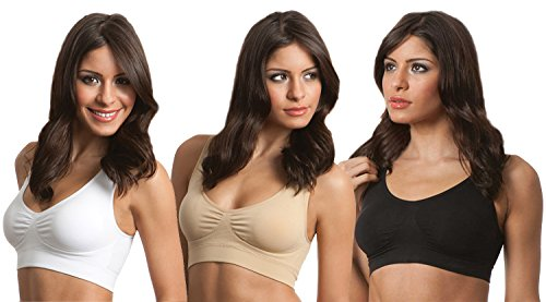 Genie Bra 3-pack–white&black&nude, with Removable Pads