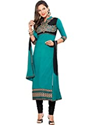 Women's Turquoise & Black Cotton Straight Fit Semi Stitched Salwar Suit