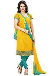 Zombom Yellow Chanderi Cotton Embroidered Un-stitched Salwar Suit