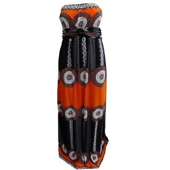 Stella Morgan D77657 Womens Strapless Patterned Summer Maxi Dress (12, Orange)