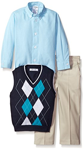 IZOD Little Boys' 3 Piece Argyle Woven Sweater Vest Pant Set, Navy, 3T