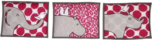 Bacati - Safari Ikat Fuschia/grey 3 Pc Wall Hanging Set