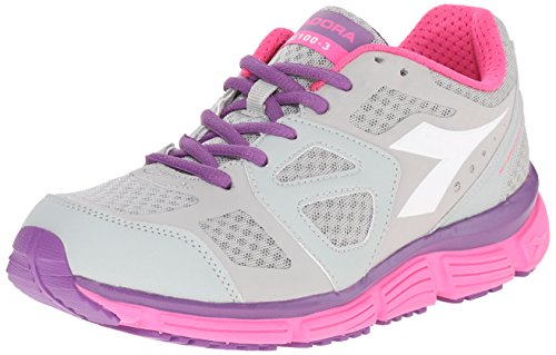 Diadora Women's N-5100-3 W Running Shoe, Light Grey/Pink Violet/Magenta, 7.5 M US