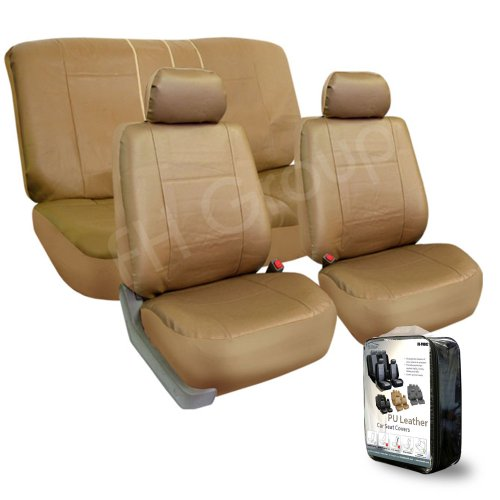 save fh pu002112 classic pu leather car seat covers airbag compatible and split bench. Black Bedroom Furniture Sets. Home Design Ideas