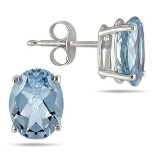 All-Natural Genuine 8x6 mm, Oval Aquamarine earrings set in Platinum