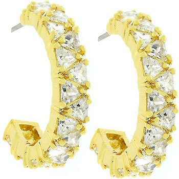 14K Gold Bonded Trillion Cut Clear CZ Hoop Earrings