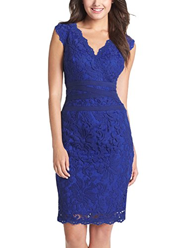 Fantaist Women's Sleeveless Scollaped Bodycon Midi Party Cocktail Lace Dress (L, Blue) (Old Dresses For Women compare prices)