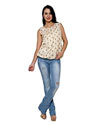 Vastrasutra White Women's Sleeveless Floral Print Party wear Top