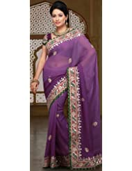 Utsav Fashion Women'sShaded Mauve Faux Georgette Saree with Blouse